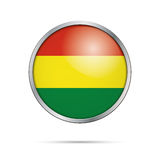 Vector Bolivian flag Button. Bolivia flag in glass button style. Stock Images