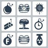 Vector bombs icons set Royalty Free Stock Photo
