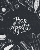 Vector Bon Appetit graphic poster with food illustrations, menu cover, banner Stock Image