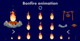 Vector bonfire animation sprites, vector flame video frames for game design. Bonfire animation sprites, vector flame video frames for game design, Bright fire Stock Photo