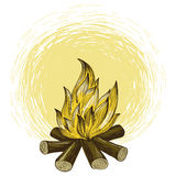 Vector bonfire in engraving style Royalty Free Stock Images
