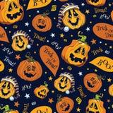 Vector Boo Pumpkins Halloween Seamless Pattern Stock Photography