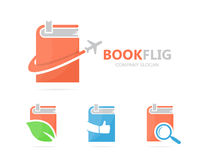 Vector of book and airplane logo combination. Library and travel symbol or icon. Unique bookstore and flight logotype Royalty Free Stock Image