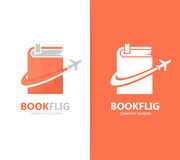 Vector of book and airplane logo combination. Library and travel symbol or icon. Unique bookstore and flight logotype Stock Photo