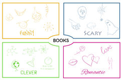 Vector book categories. Book genres. Royalty Free Stock Photos
