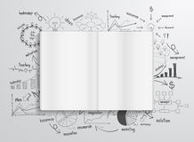 Vector book with drawing charts and graphs Royalty Free Stock Photography