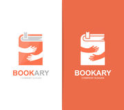 Vector book and hands logo combination. Novel and embrace symbol or icon. Unique bookstore and library logotype design Stock Image