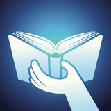 Vector book icon - hands holding textbook Stock Photo