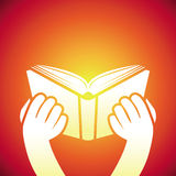 Vector book icon - hands holding textbook Royalty Free Stock Photography