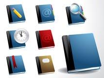 Vector book icon set. With magnifier, pencil, clock, bookmark