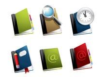 Vector book icon set. With magnifier, clock, pencil