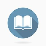 Vector Book Icon With Flat Design. Blue And White Stock Image