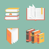 Vector book icons and symbols - education concepts Royalty Free Stock Photos