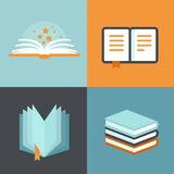 Vector book signs and symbols - education concepts Stock Photos