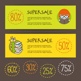 Vector book store banners. Back to school sale Royalty Free Stock Photography