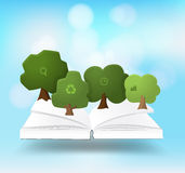 Vector book with tree growth nature banner Stock Photography