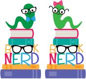 Vector Book Worm Book Nerd Graphic Set royalty free illustration
