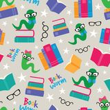 Vector Book Worms Seamless Pattern royalty free illustration