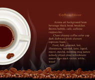 Vector booklet, a cup of coffee with coffee beans Stock Photos