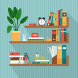 Vector books on bookshelves Stock Photos