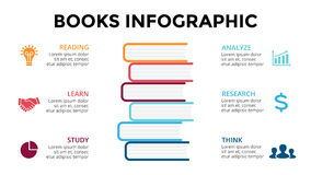 Vector books infographic, education diagram, knowledge chart, learn study graph presentation. Business read concept with Stock Photo