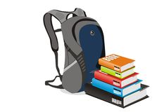 Vector books and school bag. White isolated Vector of books and school bag Royalty Free Stock Photography