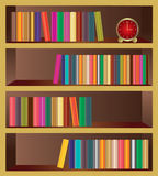 Vector Bookshelf. Vector wooden bookshelf with books and clock. Vector illustration royalty free illustration