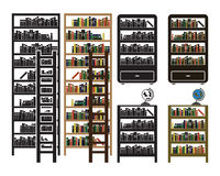Vector bookshelf icons set - black and colored variations Royalty Free Stock Images