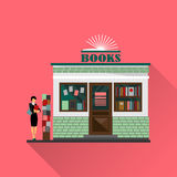Vector bookstore mall. Books shop building. Woman silhouette with a book. A lot of books in a shop window. Library. Education market. Cute architecture facade Royalty Free Stock Images