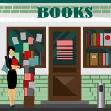Vector bookstore mall. Books shop building. Woman silhouette with booklet. A lot of paper in a store window. Library. Education market. Cute architecture Stock Image