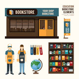 Vector bookstore set design, shop store, package, t-shirt, cap, Stock Image