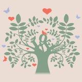 Vector boom met liefdebericht en vogels Royalty-vrije Stock Afbeelding