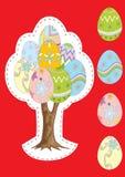 Vector boom met Paaseieren, en afzonderlijk geïsoleerde eieren Stock Foto's