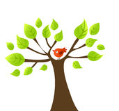 Vector boom met vogel royalty-vrije illustratie