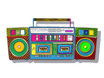 Vector Boombox. Vintage stereo double tape cassette player, Pop Art boombox Royalty Free Stock Photo