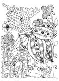 Vector a borboleta da menina do zentangl da ilustração nas flores Desenho da garatuja Esforço da página da coloração anti para ad Fotografia de Stock Royalty Free