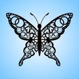 Vector a borboleta do entalhe, cartão do lugar do casamento do corte do laser, cartão decorativo preto de papel ilustração stock