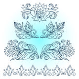 Vector border.The artwork line drawings of floral ornament for advertising discounts. Black Friday. Christmas discounts. Flowers, Royalty Free Stock Photos