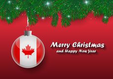 Vector border of Christmas tree branches and ball with canada flag. Merry christmas and happy new year. Vector border of Christmas tree branches and ball with stock illustration