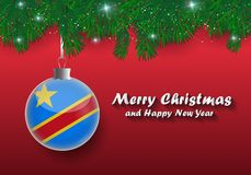Vector border of Christmas tree branches and ball with democratic republic congo flag. Merry christmas and happy new year.