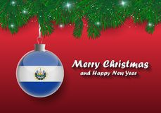 Vector border of Christmas tree branches and ball with el salvador flag. Merry christmas and happy new year. stock illustration