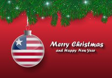 Vector border of Christmas tree branches and ball with liberia f