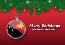 Vector border of Christmas tree branches and ball with papua new