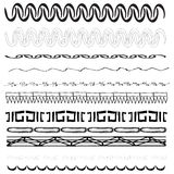 Vector Border Designs. A selection of eleven different border designs. Black on pure white background Royalty Free Stock Photography