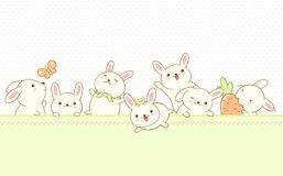 Vector border with Easter bunnies Stock Image