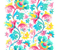 Vector border with exotic flowers in Chinese style. Seamless border with fantastic exotic flowers in Chinese style. Luxury ornament. Floral illustration. Ornate Royalty Free Stock Photography