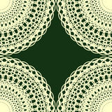 Vector border frame with abstract illustration. Border frame with lace contour doily corners on green cloth background. Space for invitations, promotional poster Stock Photo