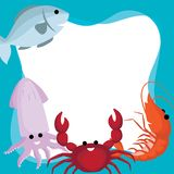 Vector border and frame of doodle cute cartoon seafood, fish, crab, squid and shrimp on blue background. royalty free illustration