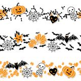 Vector border of Halloween-related objects and Stock Images