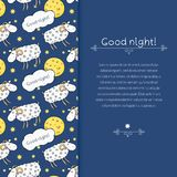 Vector border with images cute sheep on background Royalty Free Stock Photography